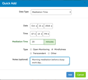 Track meditation in your Heads Up profile