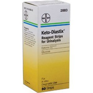 Ketostix test for the presence of ketones in urine