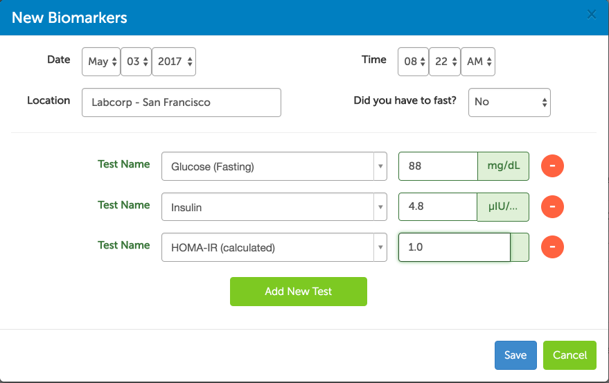 Track your HOMA IR results with Heads Up Health