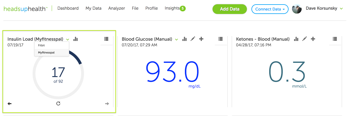 Track Insulin load with MyFitnessPal