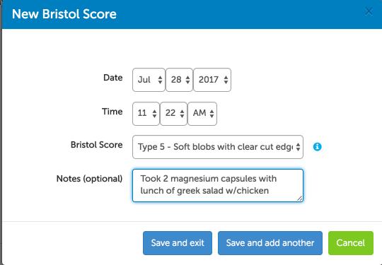 Bristol stool chart - add a new reading