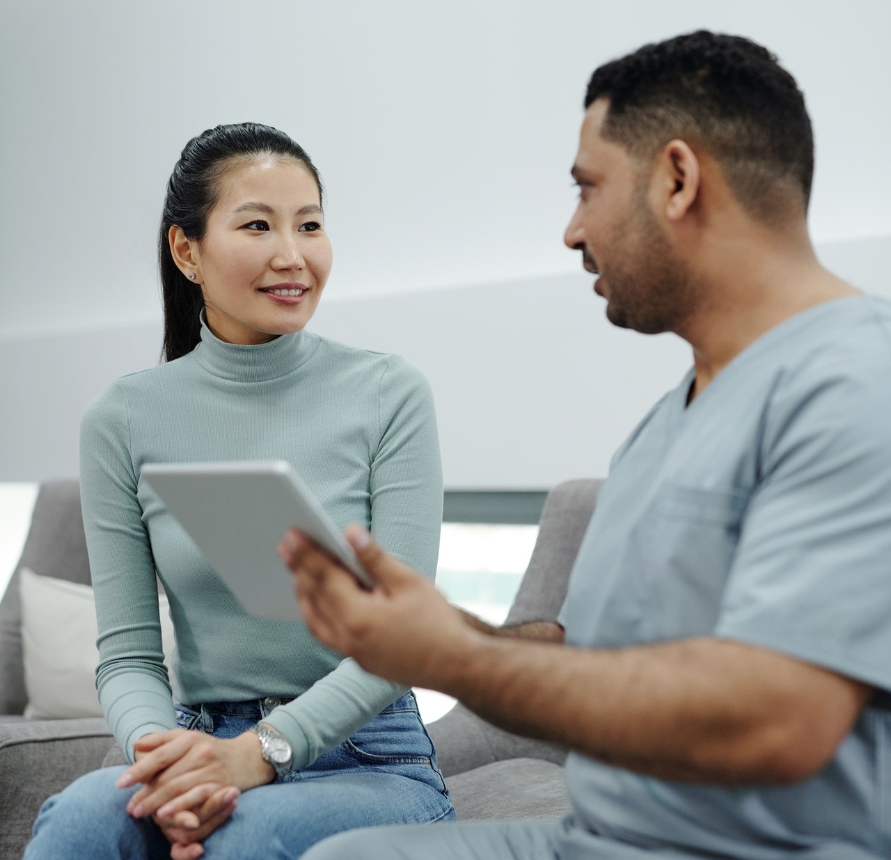 Practitioner communicates with client